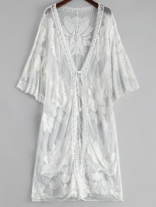 Floral Embroidered Sheer Lace Kimono Cover Up