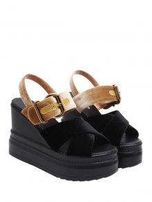 Platform Buckle Strap Velvet Sandals - Black And Golden 37