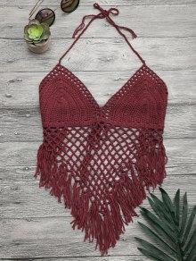 Tassels Halterneck Crochet Bikini Top - Burgundy