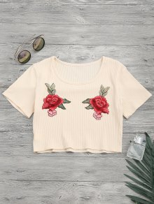 Floral Patches Ribbed Crop Top - Yellowish Pink S