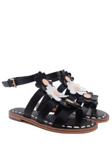 Flowers T Bar Flat Heel Sandals - Black 38