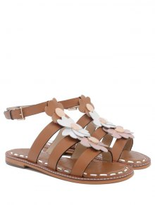 Flowers T Bar Flat Heel Sandals - Brown 37