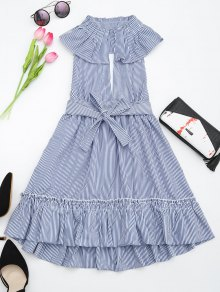 Plunging Neck Ruffles Striped Belted Dress