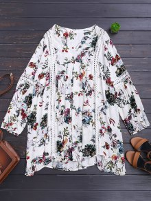 Cut Out Floral Tunic Dress