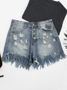 Ripped Cutoffs Butterfly Embroidered Denim Shorts