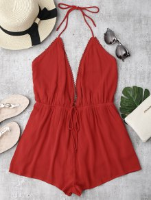 Plunge Halter Beach Cover Up Romper - Red S
