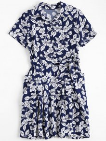 Floral Belted Vintage Shirt Dress - Floral Xl