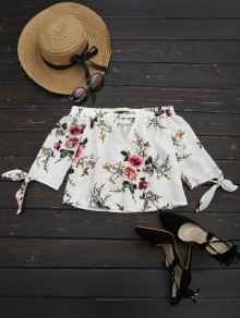 Off The Shoulder Floral Printed Blouse - White S