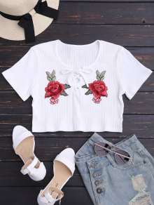 Floral Patched Lace Up Ribbed Crop Top