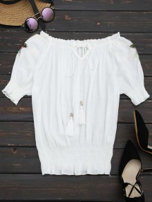 Floral Patched Tassels Blouse