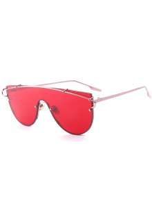 Metallic Long Crossbar Shield Sunglasses - Red