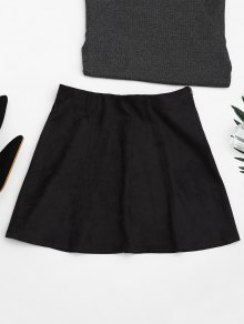Faux Suede Mini A-Line Skirt
