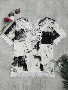 Lace Panel Tie Dye Blouse