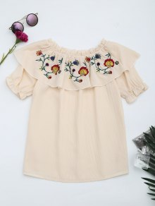 Floral Embroidered Patched Flounce Blouse