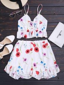 Floral Print Ruffle Hem Cami Suit