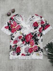 Lace Panel Floral Print Blouse