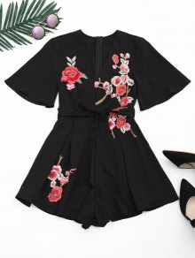Floral Patched Plunging Neck Romper