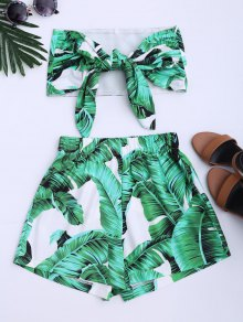 Leaves Print Strapless Top And Shorts Set - Green S