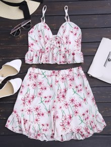 Floral Print Ruffled High Waist Cami Suit