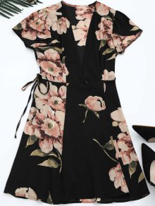Self Tie Floral Printed Wrap Dress