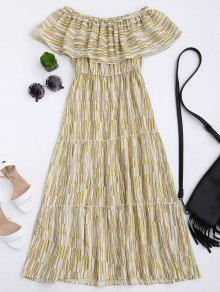 Striped Off The Shoulder Flounce Dress