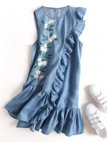 Floral Embroidered Ruffles Casual Dress
