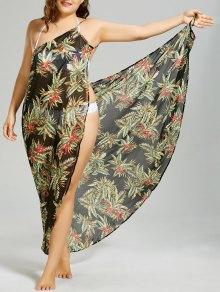 Plus Size Tropical Leaf Cover-up Wrap Dress - Black 4xl
