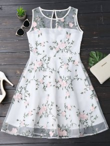 Floral Patched Sleeveless Organza Dress