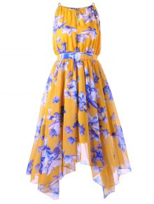 High Waisted Plus Size Asymmetric Chiffon Dress - Mandarin Xl
