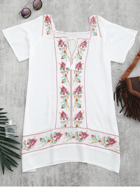 chic Embroidered Beach Tunic Dress Cover Up - WHITE S