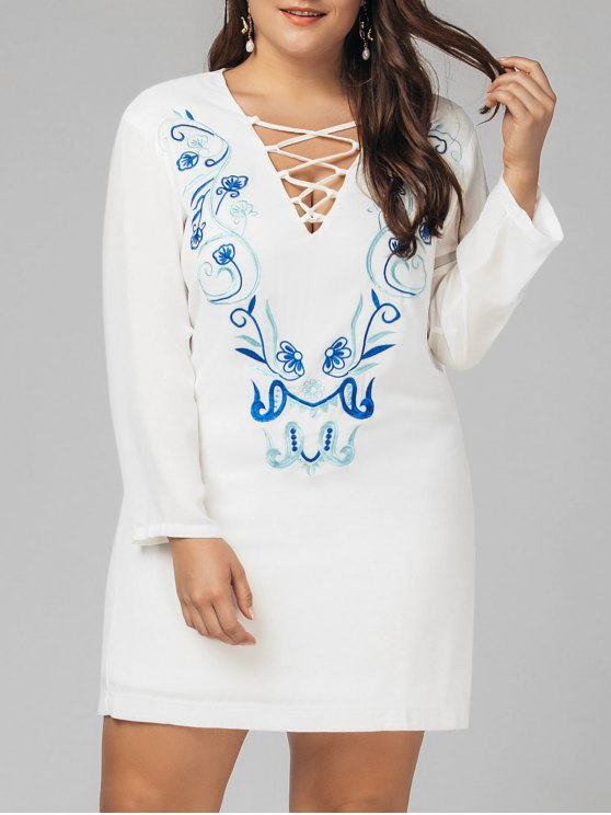 affordable Plus Size Criss Cross Embroidered Dress - WHITE 3XL