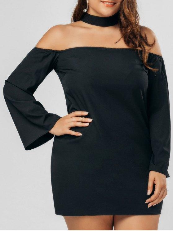 ladies Plus Size Zipper Choker Chiffon Dress - BLACK 3XL