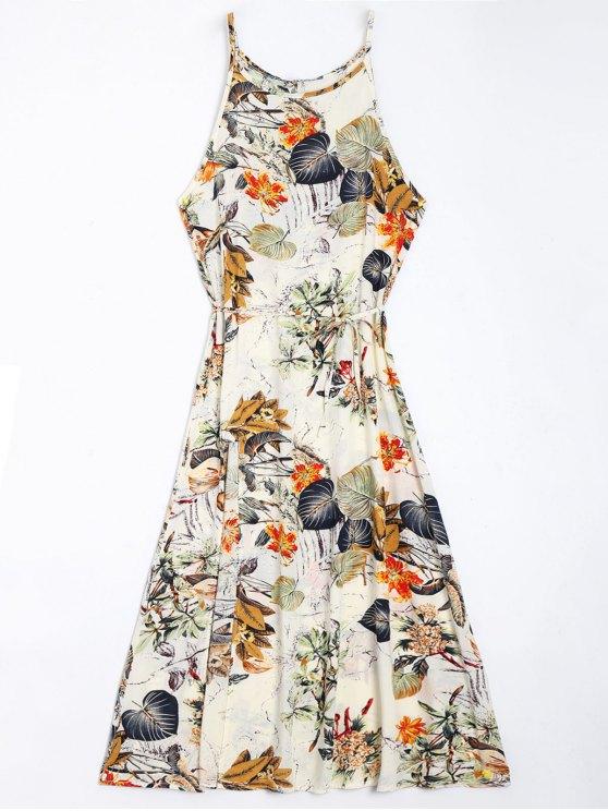 fashion Floral Leaves Print High Slit Maxi Dress - FLORAL M