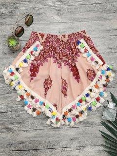 Pom Pom Beach Cover Up Shorts - Multicolor M