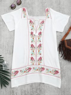 Embroidered Beach Tunic Dress Cover Up - White M