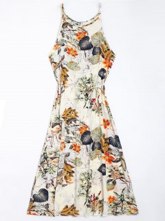 Floral Leaves Print High Slit Maxi Dress - Floral M