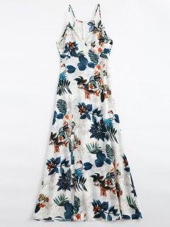 Leaves Print Slit Cami Maxi Dress - Multi M
