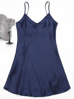 Cami Satin Babydoll Dress - Purplish Blue M