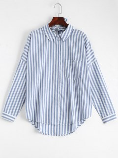 Bowknot Stripes Shirt With Pocket - Stripe M