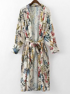 Belted Floral Kimono Blouse - Floral S