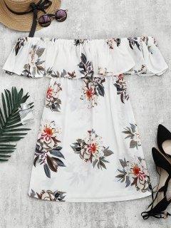 فستان طباعة الأزهار كشكش الحاشية قصة واسعة - أبيض M