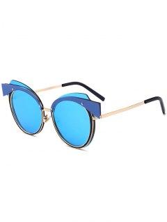 Cat Eye Metal Splicing Frame Sunglasses - Golden+ice Blue