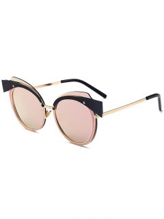 Cat Eye Metal Splicing Frame Sunglasses - Gold Frame + Pink Lens