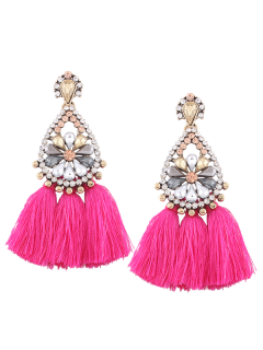 Rhinestone Tassel Floral Teardrop Earrings - Rose Red