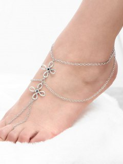 Chinese Knot Beach Layered Slave Anklet - Silver