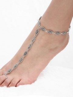 Engraved Flower Vintage Slave Anklet - Silver