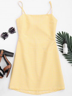 Checked Bowknot Cut Out Mini Dress - Checked M