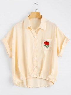 Button Up Floral Patched Pocket Blouse - Apricot