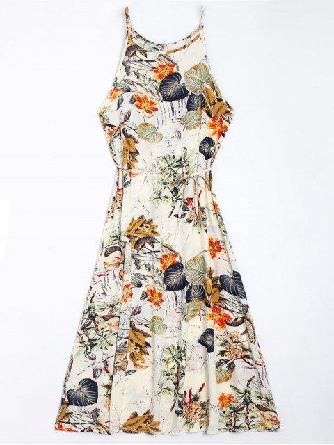 fashion Floral Leaves Print High Slit Maxi Dress - FLORAL M Mobile