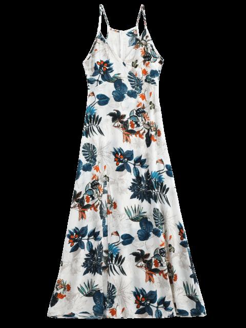 affordable Leaves Print Slit Cami Maxi Dress - MULTI M Mobile
